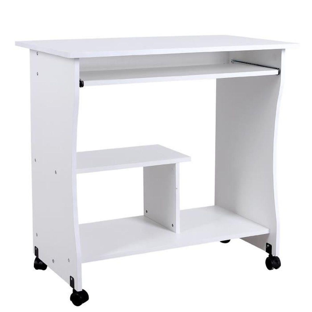 Bureau d/'ordinateur Roulant Bureau Informatique Stable Table Informatique avec Roulettes Table d/'Ordinateur avec Support Clavier Coulissant Pratique pour Bureau Salle d/étude 80 x 49,5 x 76 cm Blanc