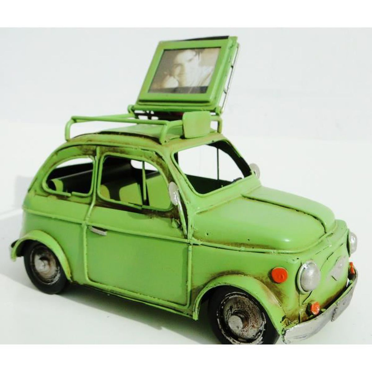 ancienne fiat 500 miniature en t le galerie porte bagages cadre porte photo vintage sixties vert. Black Bedroom Furniture Sets. Home Design Ideas