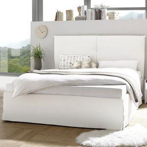 STRUCTURE DE LIT Lit coffre adulte 160 cm design blanc NERINA Blanc