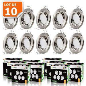 SPOTS - LIGNE DE SPOTS LOT DE 10 SPOT LED ENCASTRABLE ORIENTABLE ALU BROS