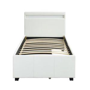 STRUCTURE DE LIT Lit 90 x 190 cm coloris blanc avec 2 tiroirs de ra