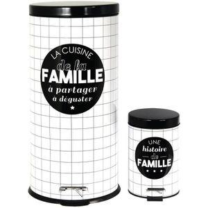 POUBELLE - CORBEILLE Set Duo Lot 2 Poubelles A Pédales Métal Design Col