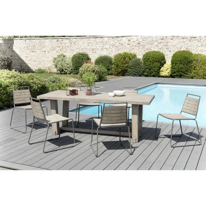 Ensemble de jardin en teck : 1 table à manger rectangulaire- 3 lots de 2 chaises empilables en teck et métal JARDITECK
