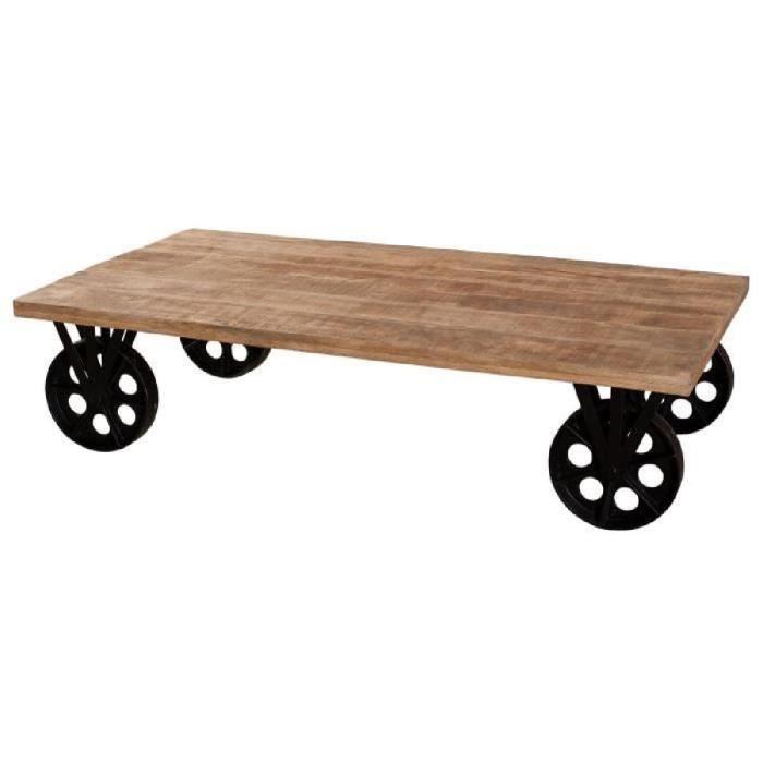 Oxford Table Basse Sur Roulettes Style Industriel En Manguier Et