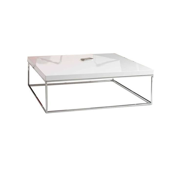 Table basse 90x90 blanche matheo achat vente table basse table basse blan - Table basse blanche moderne ...