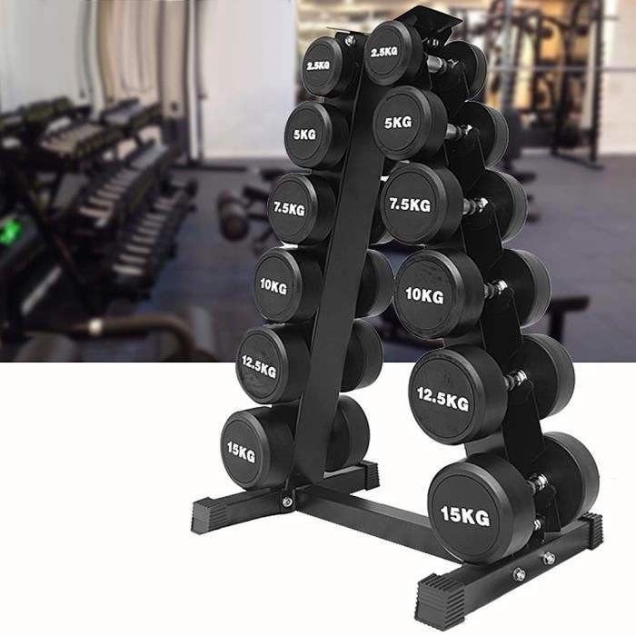 Support pour Poids Haltère à 6 Niveaux Max 200 kg Rack de Rangement pour Entraînement Musculation Fitness