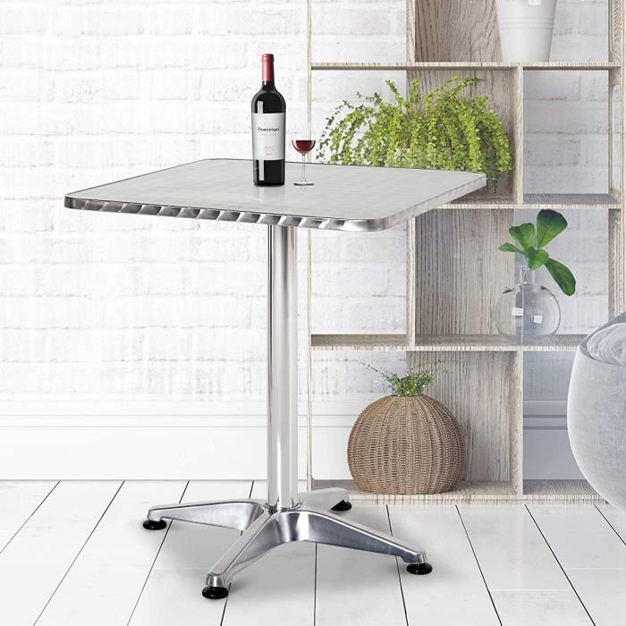Table de bar - Table à Manger Carré - Bistrot Aluminium - réglable en hauteur 70-110 cm - Facile à nettoyer