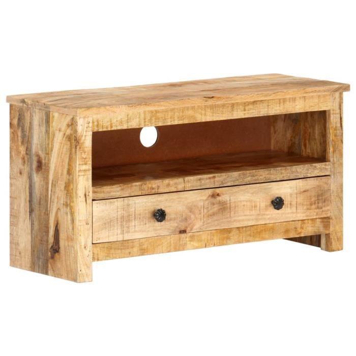 Superbe qualité -Meuble TV - Table de salon - Meuble HIFI 79x30x40 cm Bois de manguier brut❀❀❀❀❀6675
