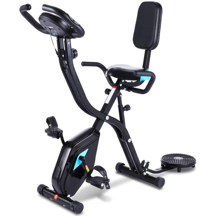 Profun Vélo d'Appartement Pliable Vélo de Fitness 10 Niveaux de Résistance Magnétique& Siège Large et Confortable, Vélo d'exercice à
