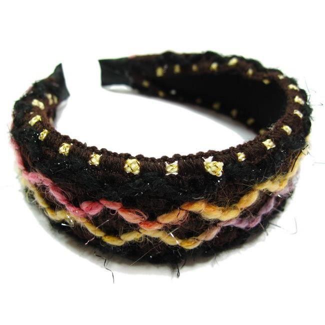 accessoires cheveux - Serre tête/headband large laine tricoté - rose