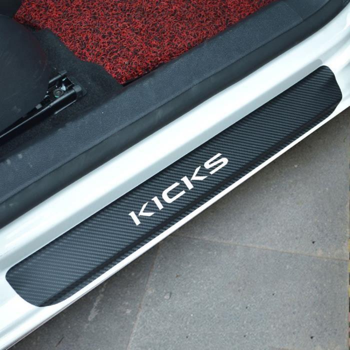 Autocollant vinyle en Fiber de carbone pour Nissan, plaque de protection de seuil de porte de voiture, silver