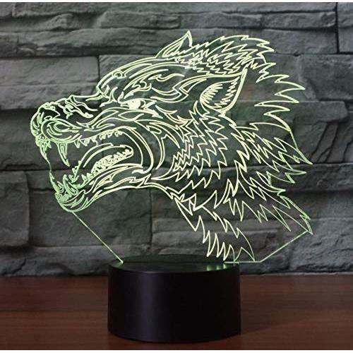 Maison Loup Féroce 3D Night Light Creative Illusion Électrique 3D Lampe Led 7 Changement De Couleur Usb Tactile Lampe De Bureau