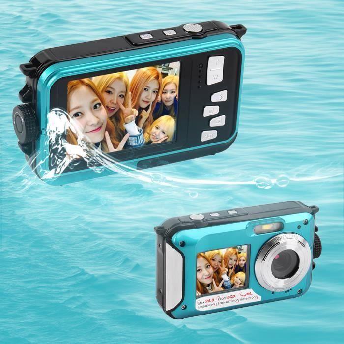 Rn Appareil photo numérique 24MP étanche MAX 1080P Double Screen16x Zoom Caméscope Bleu