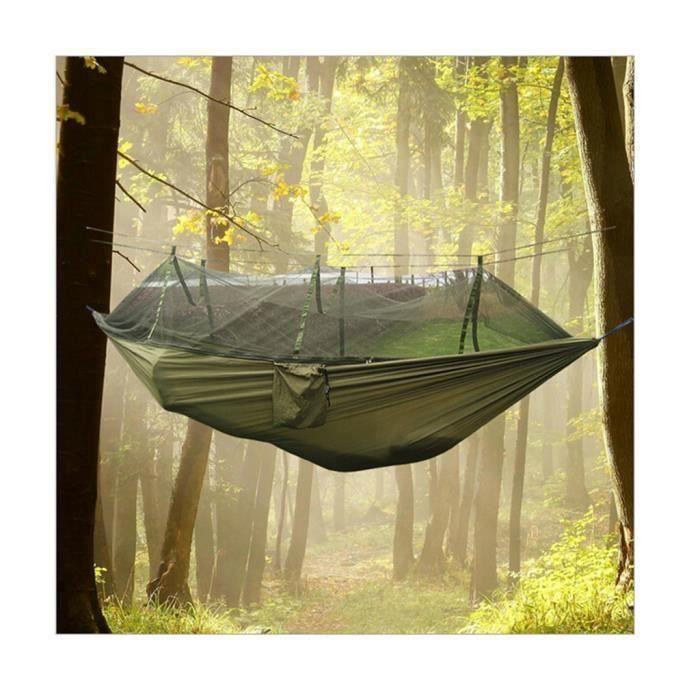 Hamac de Camping Randonnée Voyage Portable en Toile de Parachute Haute Ténacité Avec Moustiquaire Pour Deux Personnes Aw18798