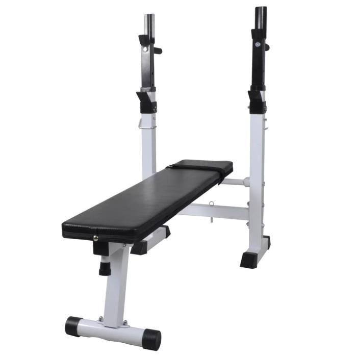 Banc de musculation - Niveau de support de Barre Réglable : 5 niveaux - 120 x 50 x 91-111 cm