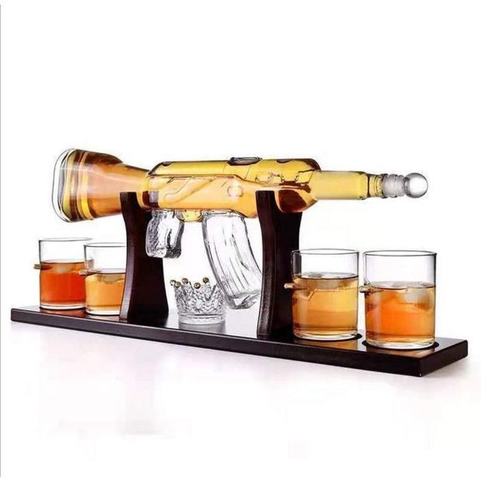 VERRE A VIN Grand Decanter Set Bullet Lunettes Carafe Whisky en Forme Darme Agrave Feu Fusil Eacuteleacutegant Whisky Carafe Bul698
