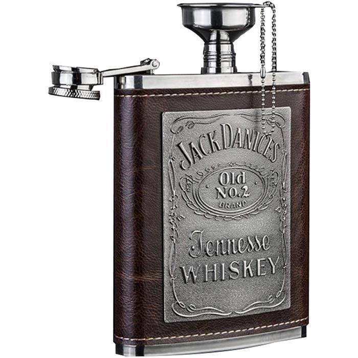 FLASQUE KHHK Flasque Alcool Eacutetui en Cuir eacutetanches Flasque Hip Flask25