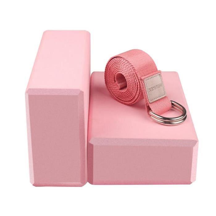 Yoga blocs ensemble 2 briques de Yoga 1 sangle de Yoga haute densité doux antidérapant Pilates méditation EV Pink