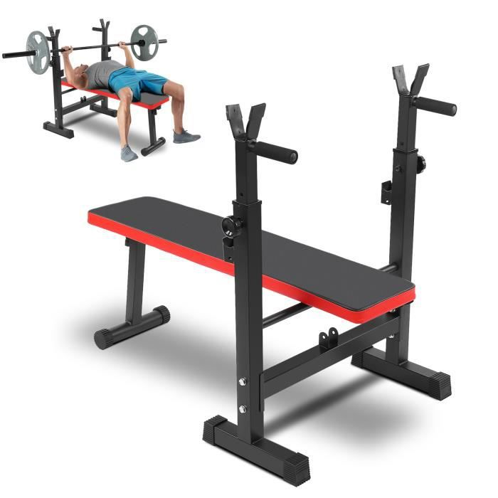 Banc de Musculation Multifonction Abdominaux Pliable avec Support de Barres pour Haltère et Station à Dips RAI