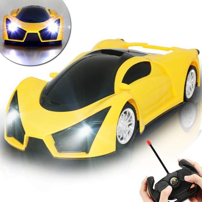 Voiture Télécommandée, Jouet Enfants RC Voiture avec LED Lumière 1/16 Échelle Cars Cadeaux pour Garçons Filles