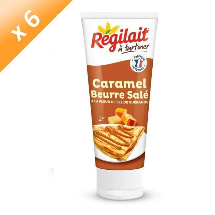 [LOT DE 6] REGILAIT à tartiner Caramel Beurre salé à la fleur de sel de Guérande - En tube - 300 g