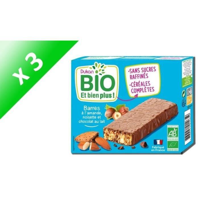 [LOT DE 3] Barres Bio aux amandes, chocolat et noisettes 120g