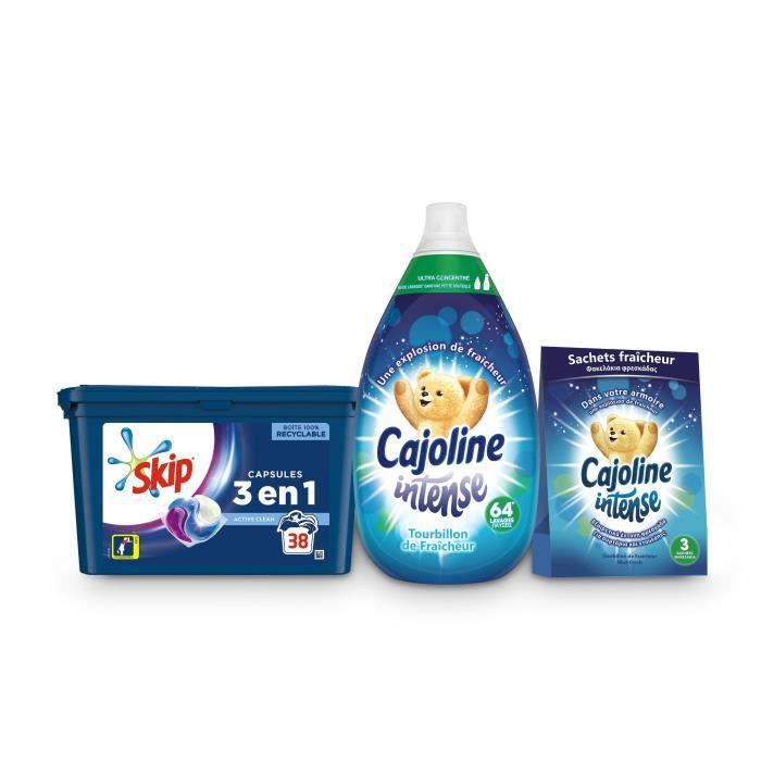 CAJOLINE Kit Soin du Linge Fraîcheur - 1 Adoucissant, 1 lot de 3 Sachets Fraîcheur, 38 Capsules 3en1 Skip