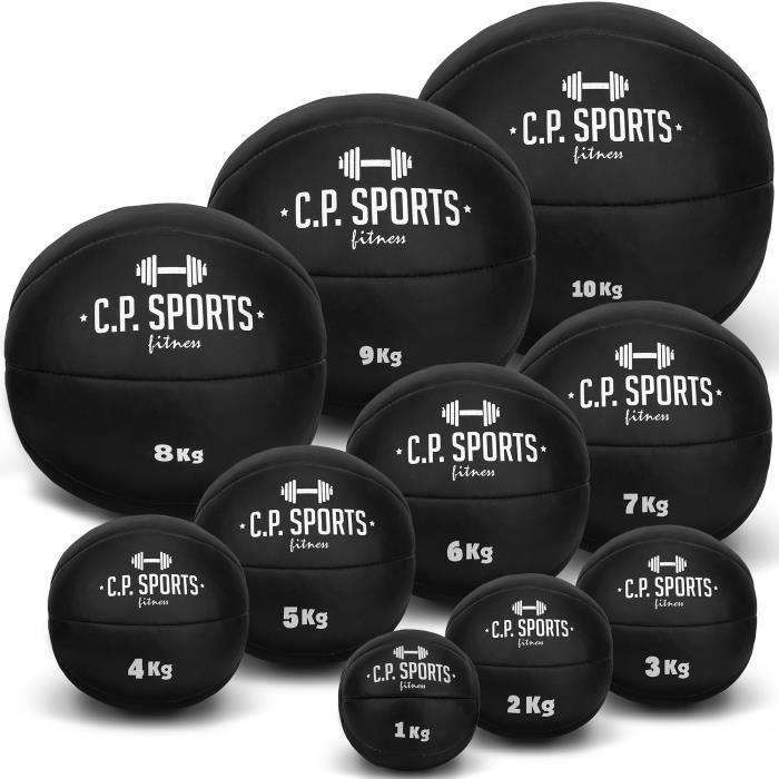 Médecine ball C.P.Sports - En cuir - Noir ou marron - Poids : 0,5 kg, 1 kg, 2 kg, 3 kg, 4 kg, 5 kg, 6 kg, 7 kg, 8 kg, 9 kg, 10 kg