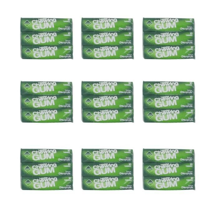 [Lot de 9] Tablettes chewing-gum parfum chlorophylle - 78g par paquet