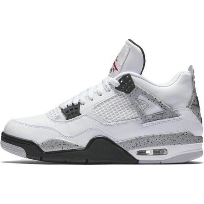 Basket Airs Jordans 4 Retro White Cement Chaussures de basket pour hommes et femmes