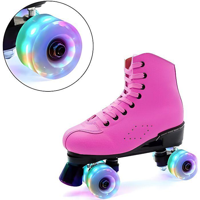 (Rouge, bleu et vert) 4pcs patins à roulettes à double rangée patins à roulettes roue lumineuse