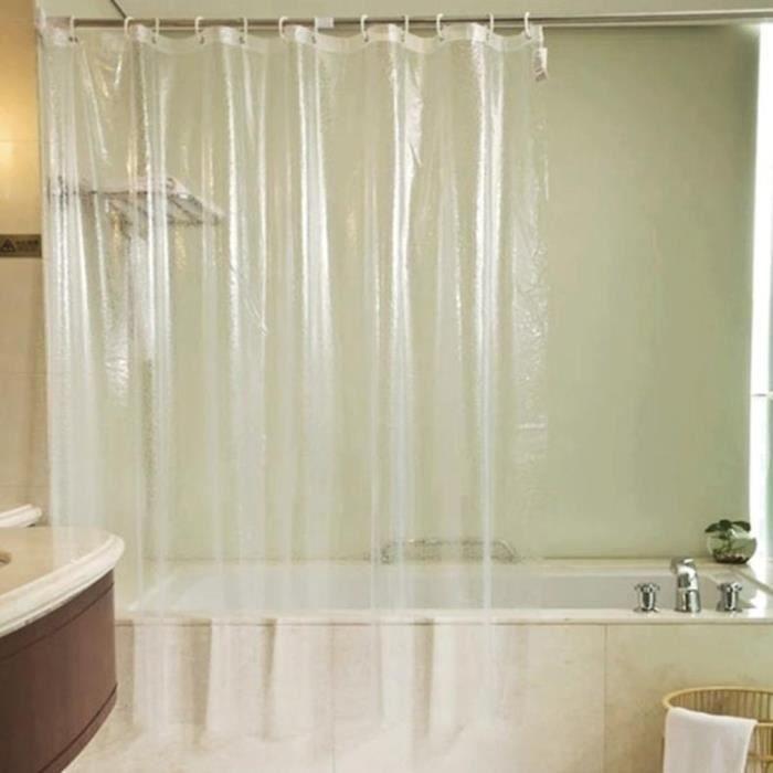 Rideau de Douche, Rideaux de Douche en Tissu Impermeable et Anti-moisissure, 180x90cm