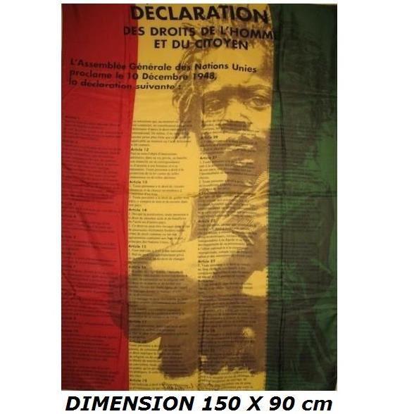DRAPEAU 150 X 90 cm DECLARATION DROITS DE L'HOMME ET DU CITOYEN Reggae Rasta Africa Bob Marley ...