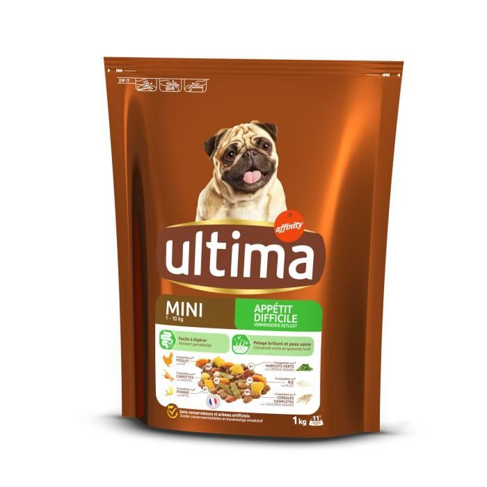 LOT DE 6 - ULTIMA multi-croquettes Chien Mini Appétit difficile Poulet - 1 kg