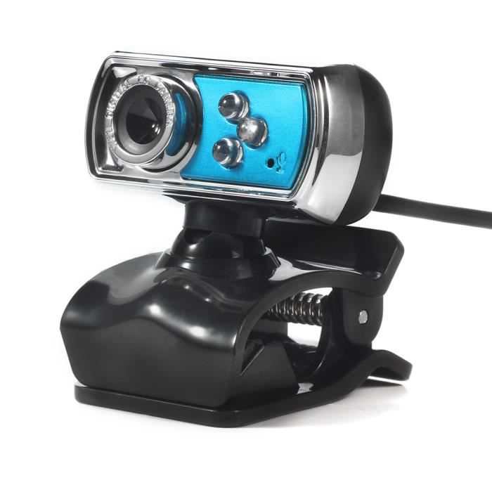 Caméra Webcam Usb Hd 12.0Mp 3 Led avec micro et vision nocturne pour Pc bleu