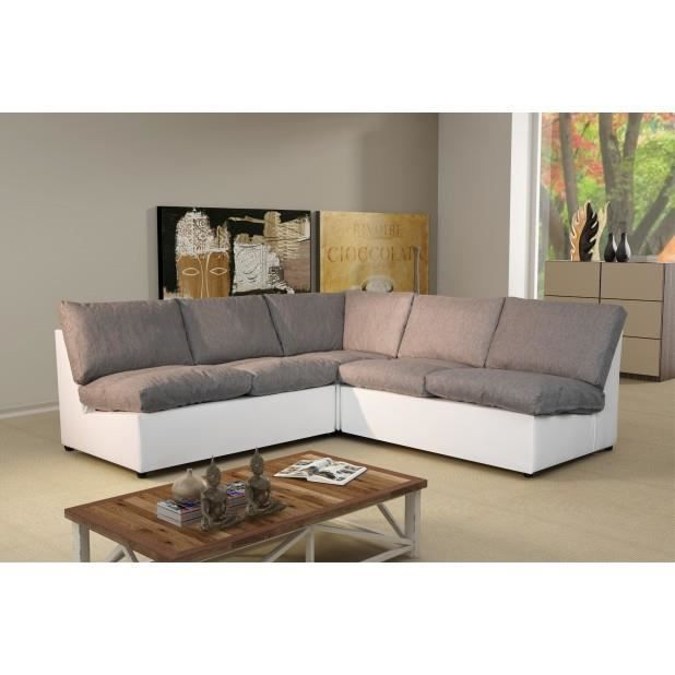 canap d 39 angle modulable avanti gris blanc achat vente canap sofa. Black Bedroom Furniture Sets. Home Design Ideas
