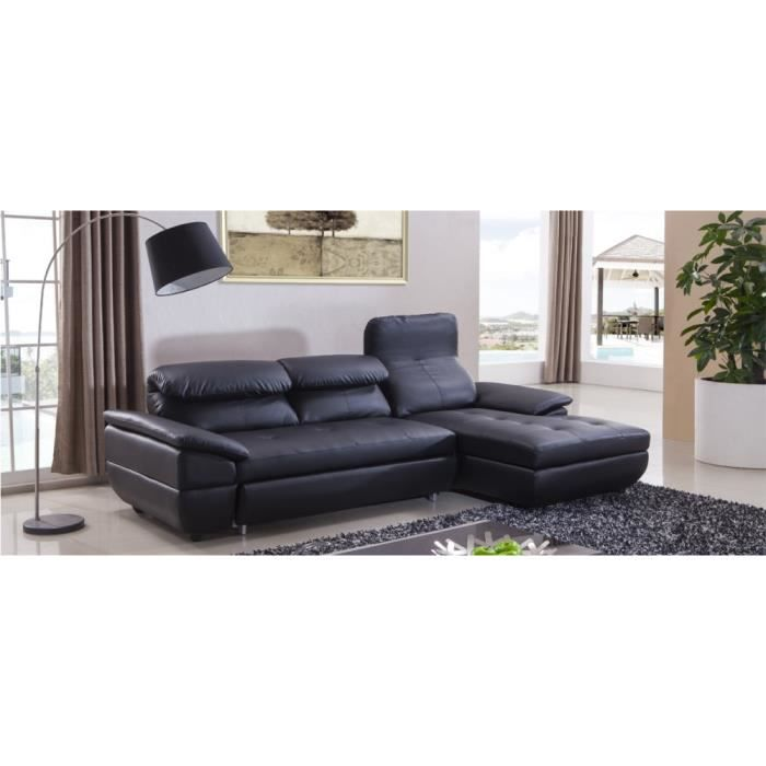 canap angle convertible droit en cuir noir mezzio achat vente canap sofa divan cdiscount. Black Bedroom Furniture Sets. Home Design Ideas
