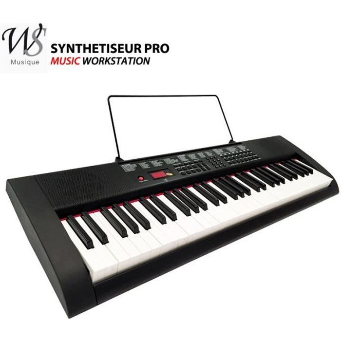 clavier piano synthetiseur electrique 61 touches pas cher achat vente synth tiseur cdiscount. Black Bedroom Furniture Sets. Home Design Ideas