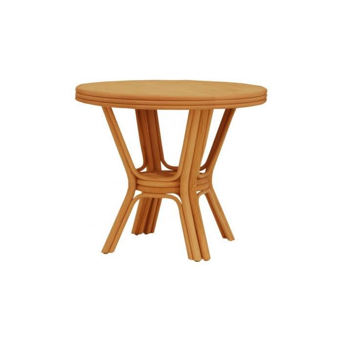 Table ronde rotin miel 2 allonges 90 achat vente for Table a manger rotin