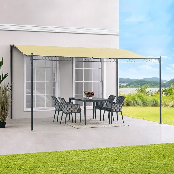 pergola alu pas cher carrefour tonnelle lorca avec toile rtractable 3x4 m aluminium et acier. Black Bedroom Furniture Sets. Home Design Ideas