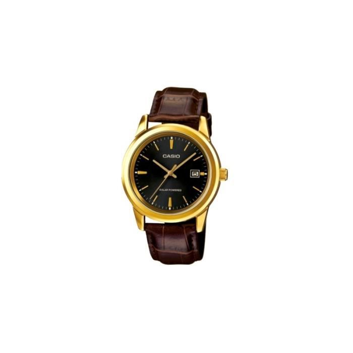 CASIO Mod. MTP-VS01GL-1A - SOLAR POWERED Quartz Date Leather Strap SS Case Ip Gold Black Dial 41mm wr 30mt