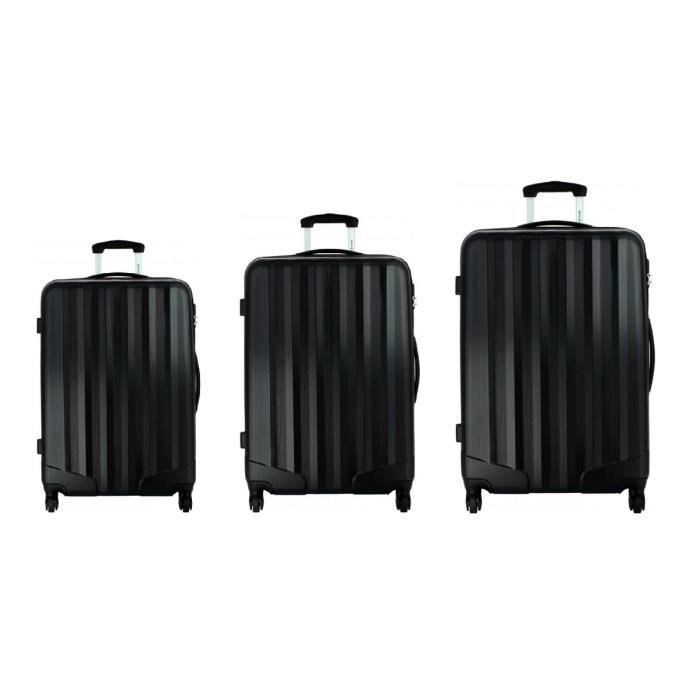 david jones lot de 3 valises bagage rigide 4 roues noir achat vente set de valises. Black Bedroom Furniture Sets. Home Design Ideas