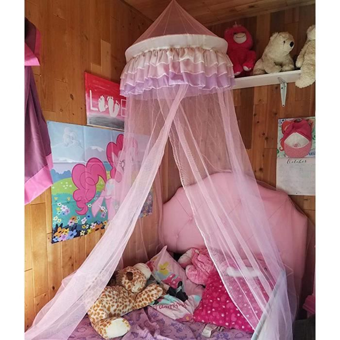 ciel de lit moustiquaire d enfant d me dentelle protection insectes ros achat vente ciel de. Black Bedroom Furniture Sets. Home Design Ideas