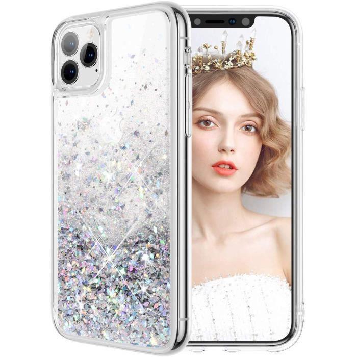 Coque iPhone 11 Etui Housse Pailletté Brillante Durable Résistante Antichoc 2 en 1 Hybride PC Dur TPU Souple (Noir)W7303