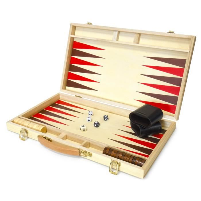mallette de jeu backgammon en bois avec jetons en achat vente jeu soci t plateau mallette. Black Bedroom Furniture Sets. Home Design Ideas