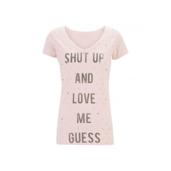 T-SHIRT T-shirt Guess Shut Up Mauve