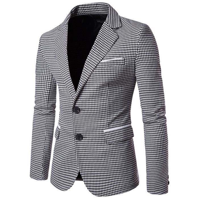 Costume Costume Marque Marque Marque Hommes Pour Casual 1 Luxe Veste Houndstooth Button OTwHTRq