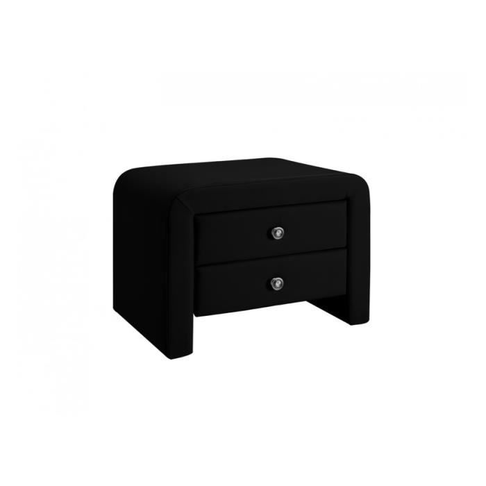 Table de chevet pu noir mat achat vente chevet table for Table de chevet noire