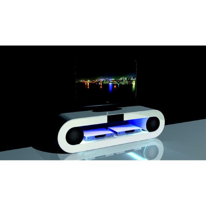 Meuble tv hi fi phoenix blanc laqu for Meuble tv hifi blanc laque