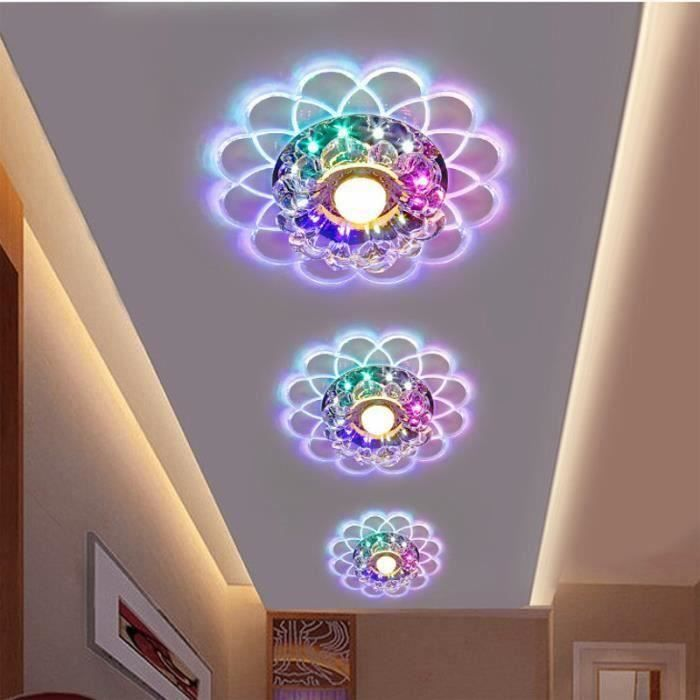 lampe de plafond lotus 5w led smd 5730 crystal lustre chambre couloir quatre modes achat. Black Bedroom Furniture Sets. Home Design Ideas